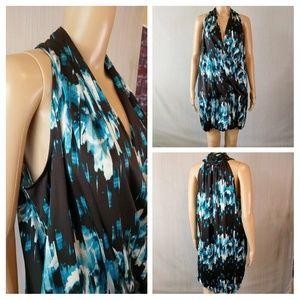Aqua and black dress with modern print